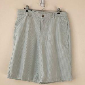 Izod Green Oxford Stripe Cotton Shorts